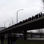 Protest auf einer Brücke
